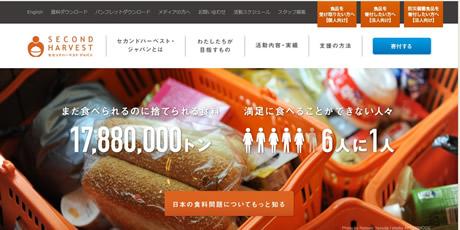 セカンドハーベスト・ジャパン(2HJ)のサイト